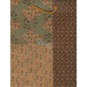 Nekupto Dárková papírová taška střední 24,5 x 19 x 8 cm Béžovo-zelená s květy 356 KHM