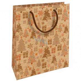 Nekupto Darčeková Kraftová taška 25 x 8 x 19 cm Vianočné stromčeky s darčekmi 594 WKHM