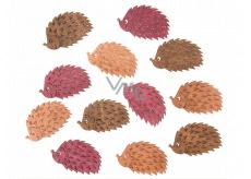 Ježkovia drevení hnedo-oranžovo-růžoví 4 cm 12 kusov