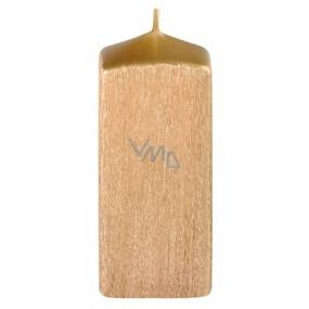 Perla drápaná sviečka zlatá hranol 50 x 120 mm