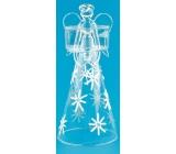 Anjel zo skla s vločkami na sviečku 24 cm