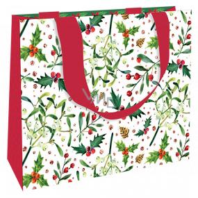 Nekupto Darčeková papierová taška luxusné 23 x 18 cm Vianočné imelo, cezmína WLFM 1993