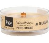 Woodwick At the Beach - Na pláži vonná sviečka s dreveným knôtom petite 31 g