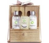 Idc Institute Organica Coconut Oil sprchový gel 120 ml + tělové mléko 120 ml + mýdlo 90 g v dřevěné krabičce, kosmetická sada