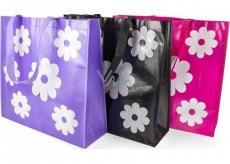 RSW Nákupní taška s potiskem Květiny růžová 43 x 40 x 13 cm