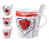 Emóciám Hrnček keramika Ruže v srdci 340 ml, set