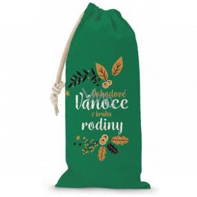 Nekupto Pytlík látkový na fľašu vianočné Pohodové Vianoce v kruhu rodiny zelený 150 x 300 mm
