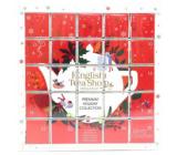 English Tea Shop Bio Adventný kalendár Puzzle červený 25 kusov biologicky odbúrateľných pyramídiek čaju, 13 príchuťou, 48 g, darčeková sada