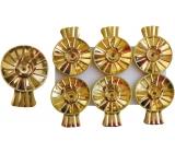 Svícínek na vánoční stromeček plechový zlatý 6 kusů, Žabky na svíčky na vánoční stromeček
