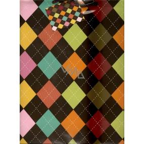 Nekupto Dárková papírová taška velká 32,5 x 26 x 13 cm Barevné káro 1 kus 831 01 BL