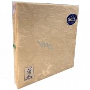 Aha Papierové obrúsky 3 vrstvové 33 x 33 cm 15 kusov Razené šampaň
