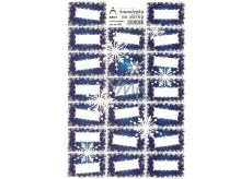Arch Holografické dekorační samolepky vánoční vločky modré 20 etiket 1 arch