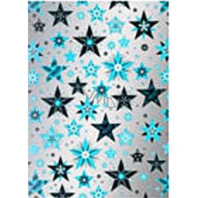 Ditipo Darčekový baliaci papier 70 x 500 cm Vianočné strieborný Modré a čierne hvězdy2033913