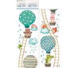 Samolepky na stenu detský meter Zvieratká v balóne do 120 cm