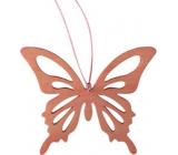 Motýľ drevený prírodný hnedý k zaveseniu 8 cm