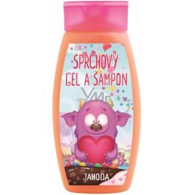 Bohemia Gifts & Cosmetics Príšerky Jahoda 2v1 sprchový gél a šampón pre deti 250 ml
