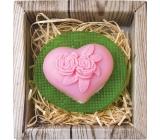 Bohemia Gifts & Cosmetics Srdce a kvetina ručne vyrábané toaletné mydlo v krabičke 80 g