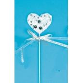 Zápich bílý se stříbrnými flitry Srdce 5cm + drátek
