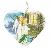 Bohemia Gifts & Cosmetics Dekoračné drevené srdce s potlačou Tri anjeli 13 cm