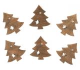Stromčeky drevené na kolíčku 4 cm, 6 kusov