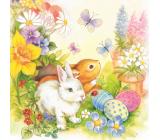 Aha Papierové obrúsky 3 vrstvové 33 x 33 cm 20 kusov Veľkonočné dva zajačiky, motýle, vajíčka, kytičky