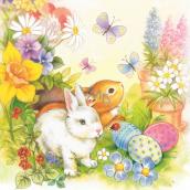 Aha Papierové obrúsky 3 vrstvové 33 x 33 cm 20 kusov Velikonočví dva zajačiky, motýle, vajíčka, kytičky