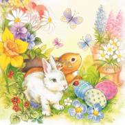 Aha Veľkonočné papierové obrúsky dva zajačiky, motýle, vajíčka, kvetinky 3 vrstvové 33 x 33 cm 20 kusov