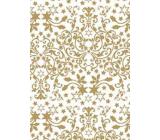 Ditipo Darčekový baliaci papier 70 x 500 cm Biely zlaté hviezdy a ornamenty