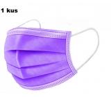 Shield Rúška 3 vrstvová ochranná zdravotné netkaná jednorazová, nízky dýchací odpor 1 kus fialová