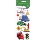 Samolepky dopravné prostriedky červená lokomotíva 34,5 x 12,5 cm