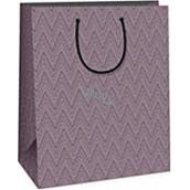 Ditipo Darčeková papierová taška veľká fialová geometrický vzor 26,4 x 13,6 x 32,7 cm DAB