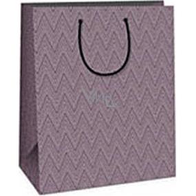 Ditipo Darčeková papierová taška 26,4 x 13,6 x 32,7 cm fialová geometrický vzor