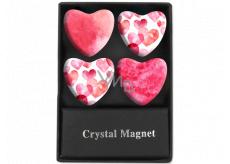 Albi Kryštálové magnetky kruhy Ružová srdce 4 kusy