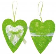 Srdíčko na zavěšení textil zelené 14 cm 1 kus