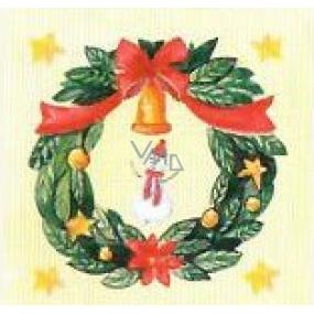 Nekupto Vianočné kartičky na darčeky Zelený veniec a snehuliak 6,5 x 6,5 cm 6 kusov