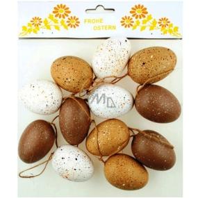 Vajíčka kropenatá - hnedé odtiene 6 cm, 12 kusov v sáčku plastová
