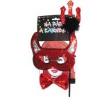 Souprava čertovská maska s rohy, vidle, motýlek