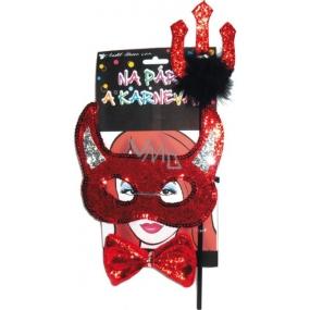 Čertovská maska s rohmi, vidly, motýlik súprava