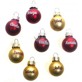 Albi Vianočné guľôčky zlatá Dominik 2 cm