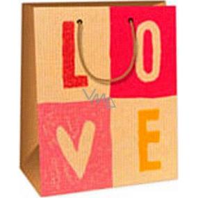 Ditipo Darčeková papierová taška 18 x 10 x 22,7 cm ružovo béžová Love