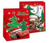 Ditipo Disney Dárková papírová taška pro děti L Cars Merry Christmas 26,4 x 12 x 32,4 cm