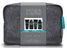 Baylis & Harding Jantar a Santalové drevo tekuté mydlo na telo aj vlasy 100 ml + umývací gél na tvár 100 ml + balzam po holení 50 ml + sprchový gél 50 ml + väčší šedá toaletná taška kozmetická sada pre mužov