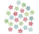 Květy dřevěné 2 cm, 24 ks
