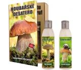 Bohemia Gifts Houbařské desatoro pre hubárov sprchový gél 200 ml + šampón 200 ml, kniha kozmetická sada