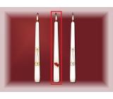 Lima Svadobné sviece Červená srdiečka sviečka biela kužeľ 22 x 250 mm