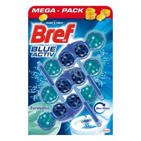 Bref Blue Aktiv Eucalyptus WC blok na hygienickú čistotu a sviežosť Vašej toalety, obarvuje vodu do modrého odtieňa 3 x 50 g
