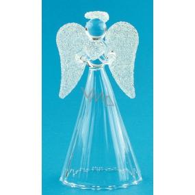 Anjel sklenený s bielymi krídlami na postavenie 9 cm