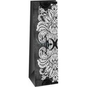 Ditipo Darčeková papierová taška na fľašu 12,3 x 7,8 x 36,2 cm šedo, čierno, biela veľké listy