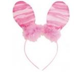 Čelenka uši s pierkom ružová pruhmi 23 cm