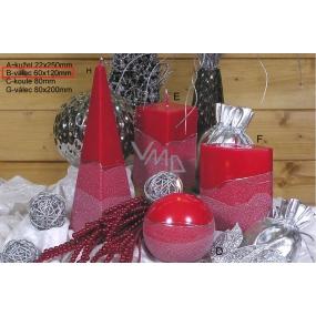 Lima Artic sviečka červená valec 60 x 120 mm 1 kus